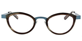 Anne&valentin Fossette size 45 Taupe and Blue Matte metal Temples Clear Demo Lens